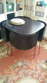Ikea solid wood dining table and 4 leather chairs for small space
