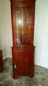 Yew Corner Cabinet glazed top lockable with light