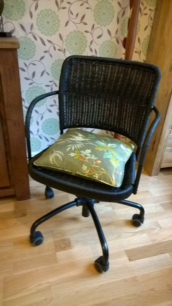 Ikea Gregor Desk Chair. Black Rattan. Swivel Office Chair