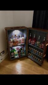 Vintage travel trunk converted cocktail cabinet