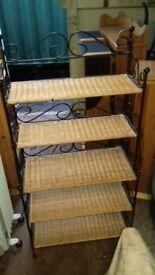 Wrought iron and wicker book shelf/ shoe tidy