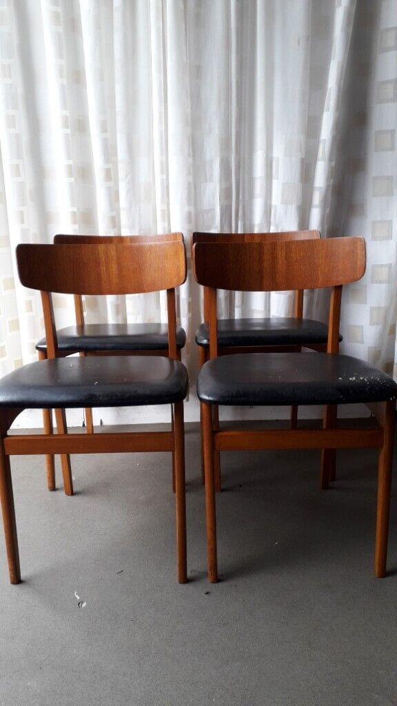 Awe Inspiring Set Of Four Vintage Retro Teak And Black Vinyl Dining Chairs For Recover In Southside Glasgow Gumtree Gmtry Best Dining Table And Chair Ideas Images Gmtryco