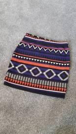 Boohoo aztec mini skirt size 8
