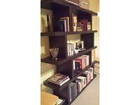 Designer dark wood bookshelves with 4 levels
