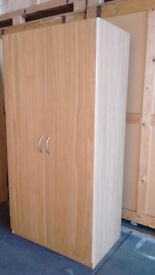 IKEA PAX wardrobes, 1 double, 1 single, oak effect, v good condition