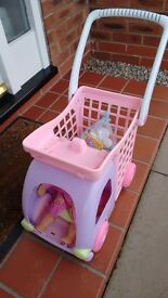 Young Children's Shopping Trolley with Doll and Groceries