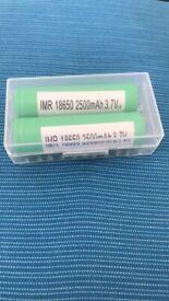 2 x Samsung 18650 2500mAh 3.7V high drain lithium batteries