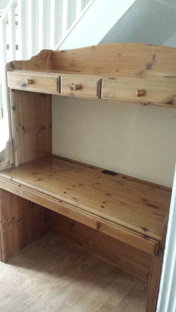 Extra Large Ducal Pine Desk With Drawers And Shelf