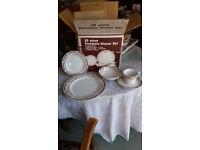 Beautiful porcelain dinner service with matching tea pot set