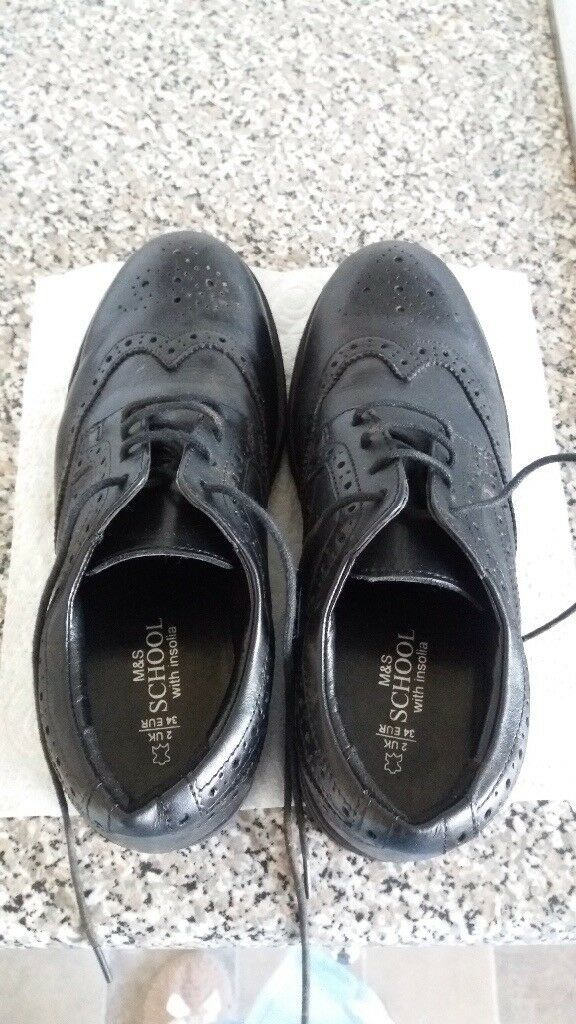 FURTHER REDUCED Boys black leather shoes size 2 worn once Marks & Spencer