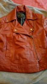 Red Leather Jacket. French Connection. Size 10