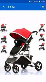Fly Kids Pram Travel System 2 in 1 Combi Stroller Buggy Baby Pushchair.Unisex.