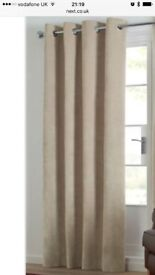 NEXT light natural eyelet soft velour blackout curtains
