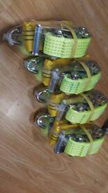Set of 4 ratchet recovery tie downs with wheel strap