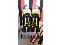 Maclaren Twin Techno 2013 Stroller - Black/Citrus Lime in a very good clean condition