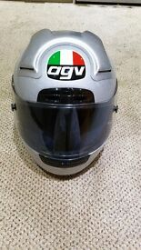 "AGV CRASH HELMET IN SILVER SIZE 58"" IN GREAT CONDITION"
