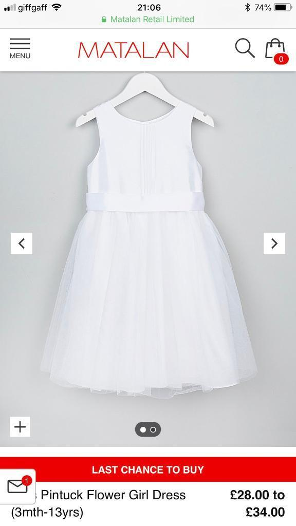 8a358ebfc37e White age 13 pintuck bridesmaid flower girl christening  occasion dress