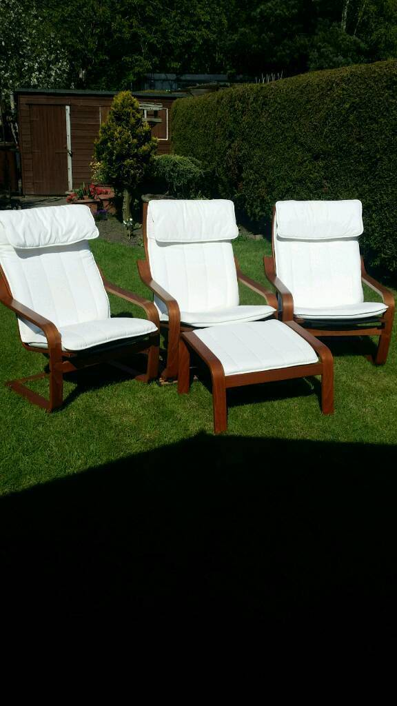 3 IKEA poang conservatory chairs 1 foot stool