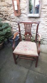Georgian Mahogany Arm / Desk Chair with Tapestry drop in seat