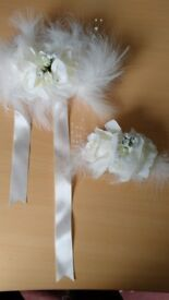 Silk wedding accessories for hair and wrist - Ivory