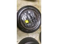 Peugeot 15'' inch spare wheel + tyre wheel brace and jack 4x108 fitment tyre as new 206 207 307 308