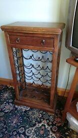 Dark wood and wrought iron wine rack