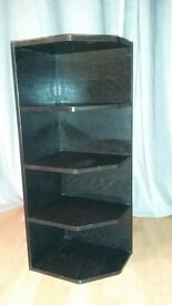 brown/black corner shelf unit