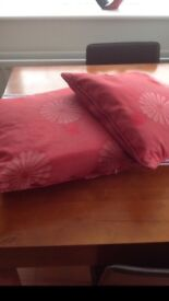 Pair of red duck feather cushions
