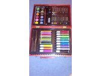 Art set 68 pieces in case crayons oil pastels ruler marker pens tablet paints