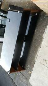 Tv stand wooden curve legs with black glass shelves