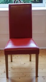 4x red faux leather dining chairs
