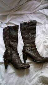 NEW ROCK BROWN LEATHER KNEE HIGH BOOTS