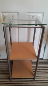 Multi tiered telephone table / side table / occasional table in metal and glass