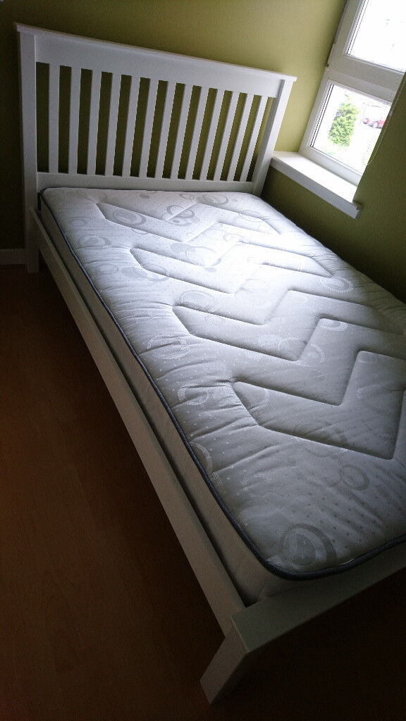White Aspley Small Double Bed Frame Airsprung Mattress From