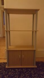 Storage Unit with Shelves and Cupboard