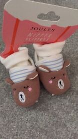 Joules baby booties/ slippers 0-6 months bnwt