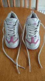Heelys white with pink design, size 2 in fair condition