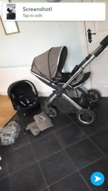Oyster 2 pram with car seat rain cover. foot muff and mosquito net