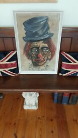 pair of vintage retro clown oil paintings, matching pair , chinese