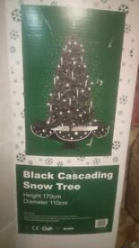 Black Cascading Snowing Christmas Tree