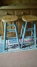 KITCHEN STOOLS PINE PAINTED DUCK EGG BLUE