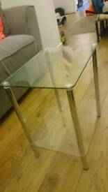 2x 2 tier glass side tables