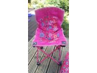 Pink child's camping chair with carry case