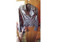 Marks & Spencer M&S Women's Faux Leather Jacket Motorcycle Jacket Size 12 M Medium