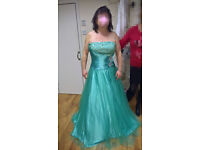 Beautiful NEW Mint Green Strapless Sequins & Beads Bling Wedding Dress, Prom Dress or Ball Gown