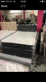 Double divan bed set in black faux leather finish