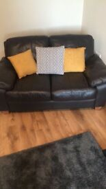 3 and 2 Dark Brown Leather Sofa