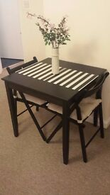 Black/Dark Colour Dining Table and 2 Chairs with Cushions