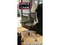 IKEA OFFICE DESK CHAIR Real Leather Original £279 Fully adjustable BACK ARM SEAT CAStORS TILT FIX
