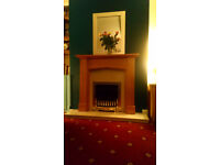 Oak Finish Fire Surround and Marble Hearth